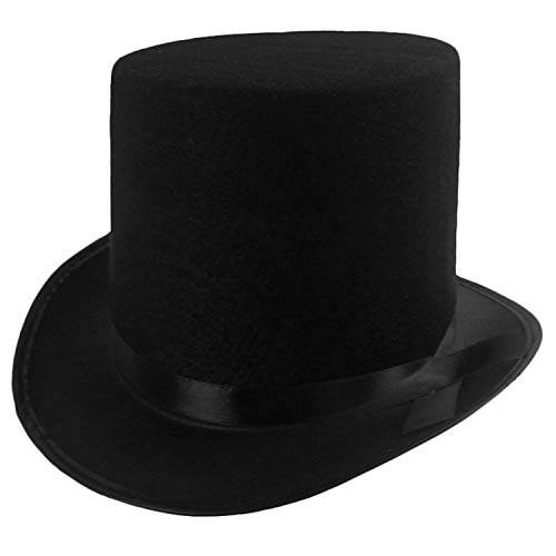 Funny Party Hats Black Top Hat - Victorian Hat For Men - Felt Tuxedo Costume Hat - Coachman Hat - Dress Up Hat (1 Pack)