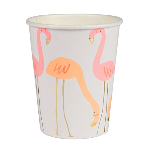 Meri Meri, Flamingo Party drinkbekers, warme en koude dranken, 260ml - pak van 8