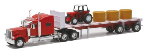 New-Ray Peterbilt 389 with Hay and Farm Tractor Playset 1/32 Scale Model Toy Vehicles  10293A