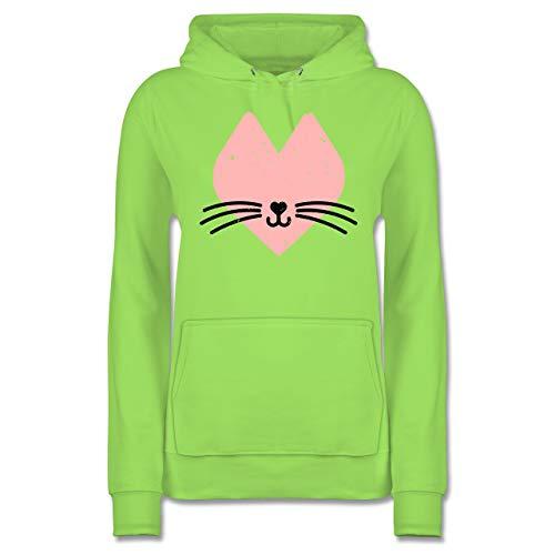 Valentinstag - Katzenherz - S - Limonengrün - Katze - JH001F - Damen Hoodie und Kapuzenpullover für Frauen
