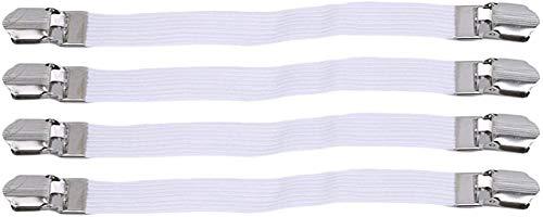 4 soportes para sábanas de cama, sujetadores elásticos, pinzas de metal, correas de esquina, para tabla de planchar (blanco) (color: blanco)