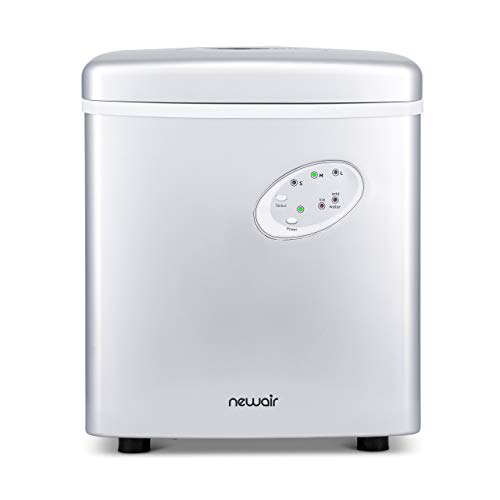 NewAir Portable Ice Maker 28 lb Daily Icemaker, 3 Ice Bullet Sizes, Perfect Machine for Countertops, NIM028SI00 Silver