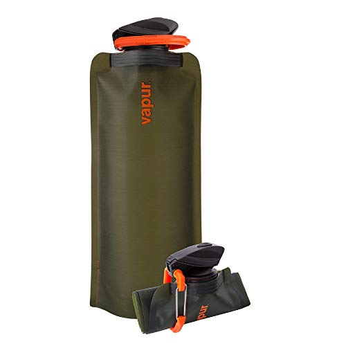 Vapur Eclipse Flexible Water Bottle - with Carabiner, .70 Liter (23 oz) - Olive