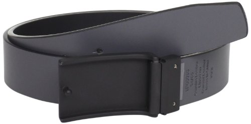 Perry Ellis Men's Coated Plaque Belt, Black, 38