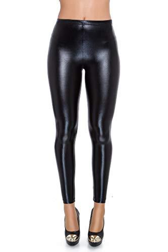 Futuro Fashion Damen-Leggings designt im Nass-Look aus Latex, Kunstleder, glänzende Farben, Silber und Gold, hohe Taille & klassische Taille, Größen 36-48 Gr. 38, Schwarz klassische Taille