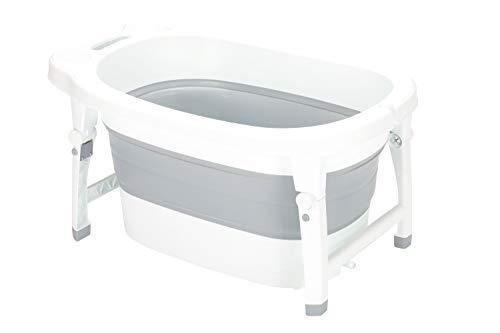 Fillikid Faltbadewanne Vario Exclusiv 2in1| faltbare Badewanne mit sicheren Stand | Baby-Badewanne ab 0 Monate bis 48 Monate | Abflussstöpsel mit Thermometerfunktion | Kunststoffbadewanne für Baby