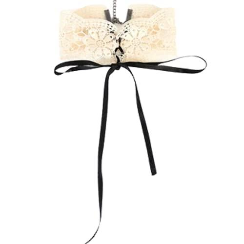 A365 Gargantilla de ganchillo beige atar cinta de seda talla única