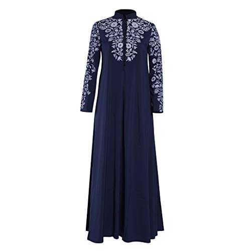 Lazzboy Muslim Maxi Kleid Trompete ärmel Abaya Lange Robe Kleider Tunika Gürtel Frauen Moslems Lose Einfarbig Kleidung Araber Kaftan Dubai(Blau,3XL)
