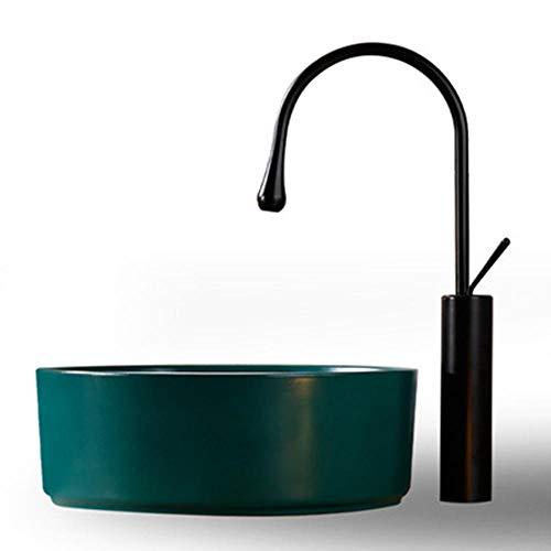QuRong Schip zinken Nordic diamant mat groene keramische toilet bad Eitelheit opzetwastafel voor thuis Hotel