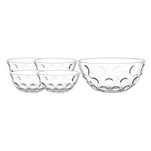 Leonardo Cucina Optic Schalen-Set, spülmaschinengeeignete Schälchen und Salat-Schüssel, 5er Set, Ø 140 mm und 255 mm, 066341