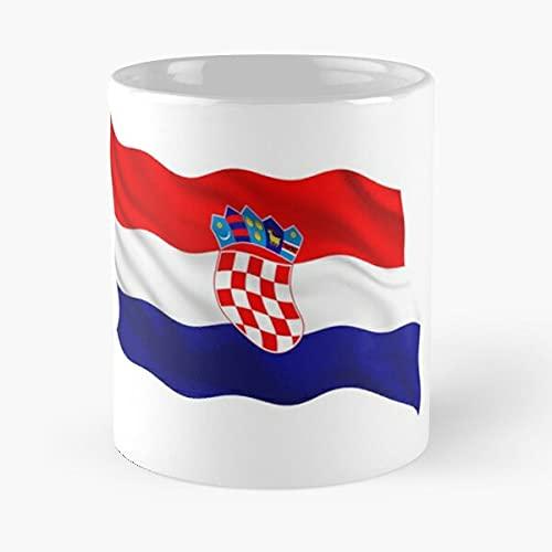 Croacia Waving | Soporte de appreciación de los fanáticos del fútbol – Mejor taza de café de cerámica blanca de 11 onzas