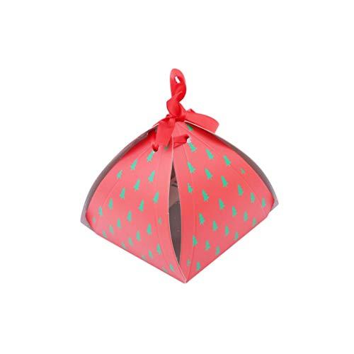Yeaha decoratieve dozen 10 Stks/Set Vrolijke Kerst Snoep Koekjes Doos Papieren Doos Geschenkdoos Kerstboom Geschenkdoos met Klokken Container Supplies, Rode kerstboom, OneSize
