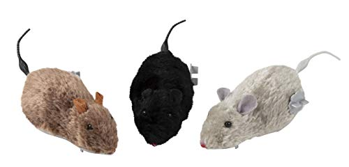 Wind Up Mouse Toys for Kids - 12-Pack Racing Mice, Furry Realistic Prank Toy, Funny Novelty Prizes, Party Favors and Gifts, Gray, Brown and Black
