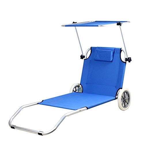 Guolipin Außenklappstühle Verstellbarer Rollo Verstellbarer Rollo Liegestuhl mit Sonnenschirm Markise Liege im Freien Yacht Club Fahrbarer Liege (Farbe : Blau, Größe : Free Size)