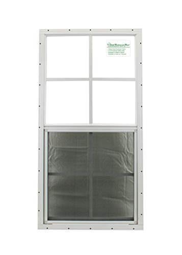 Shed Windows 18' X 36' White Flush Mount, Safety/Tempered Glass Playhouse Windows, Chicken Coop Windows