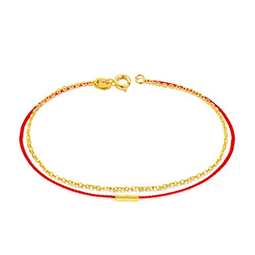KnSam 18K Oro Amarillo Pulsera, Brazalete Cuerda Roja, Color Oro, Regalo para Amantes, 17CM