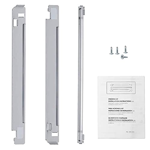 """ANTOBLE KSTK1 27"""" Chrome Laundry Stacking Kit Replacement for LG Washer Dryer with Instructions & Screws"""