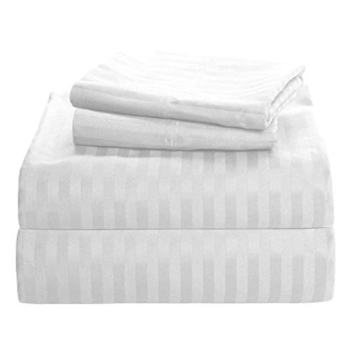 """Fashion Mart Best Bedding 600-TC Queen 4-PC Sleeper Sofa Sheet Set 100% Egyptian Cotton Reliable & Easy Care (White Stripe) Fits 8"""" inches Deep Pocket Mattress."""