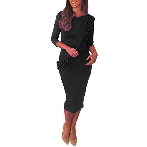 SANNYSIS Damen Kleid Langarm Casual T-Shirt Kleid Freizeit Elegant Rundhals Midi Kleider Blusenkleid Festkleid Frauen Abend Partykleid Einfarbig Bodycon Etuikleid (M, Schwarz)