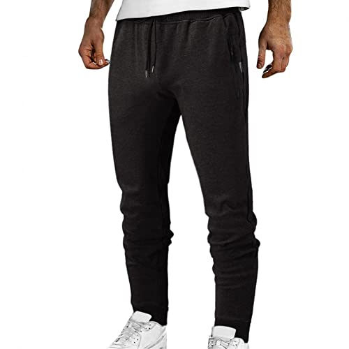 YUNDAN Men's Elastic Waist Drawstring Active Pants Solid Color Casual Loose Fit Joggers Athletic Trousers with Pockets Black