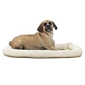 Furhaven Pet Dog Bed Kennel Pad – Faux Lambswool and Sherpa Crate or Kennel Mat Bolster Pet Bed for Dogs and Cats, Cream, Large