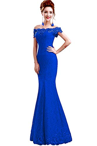 Babyonline 2016 Off Shoulder Royal Blue Mermaid Evening Formal Bridesmaid Dress