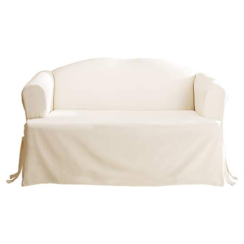 Surefit Home Décor Duck Solid T-Cushion Sofa One Piece Slipcover, Relaxed Fit, 40inx36in, Machine Washable, Natural Color