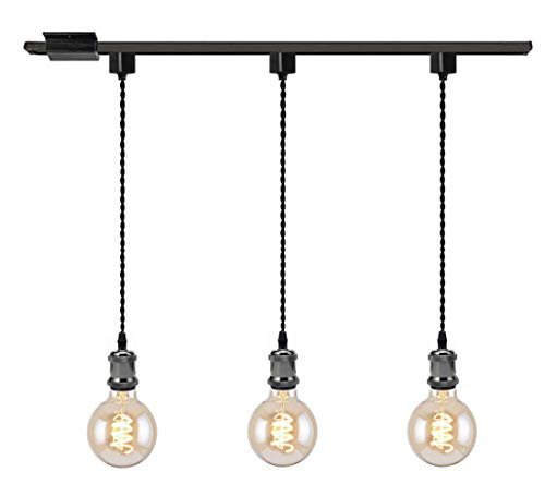 Kiven 3-Light H System Track Mini Pendant, Pearl Black Finish Lamp Holder Fitting Track Light Kit, Rose Pendant Braided Fabric Flex Cord Length 31.5 in,TB0123-80CM