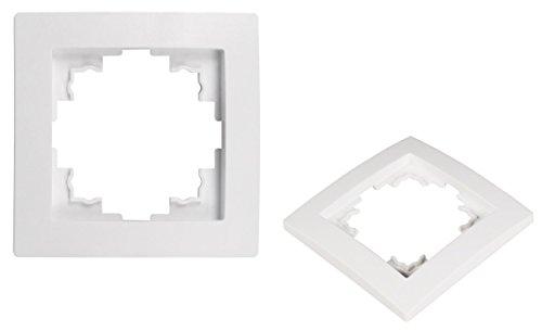 VARIATION Lichtschalter Schalter Taster Wechsel-Serien-Schalter Jalousie-Schalter Dimmer Antennen-Dose ISDN-Steckdose für RJ45 + RJ11 (UNIVERSAL Plastik-Rahmen 1-fach 80x80x8 mm WEISS)