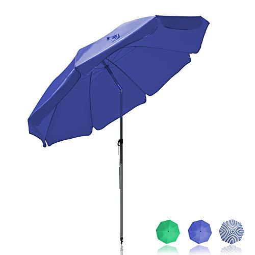 BelleMax Sonnenschirm Balkon Gartenschirm 200 cm mit Bodenhülse & Drehstange & Schutzhülle Marktschirm Terrassenschirm Blau Rund Sonnenschutz UV50+