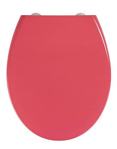 WENKO Premium WC-Sitz Samos Watermelon - Toiletten-Sitz mit Absenkautomatik, rostfreie Fix-Clip Hygiene Edelstahlbefestigung, Duroplast, 37.5 x 44.5 cm, Rot
