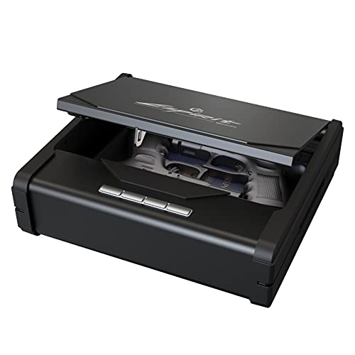ESPIRIT Pistol Safe for Handguns, Gun Safes for Pistols, Handgun Safe for Nightstand with Keypad Lock and Gas Strut for Smooth Auto-Opening (Black)