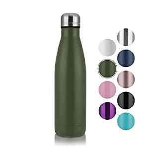 COMOOO Insulated Water Bottle Leak-Proof Double Walled Cola Shape Cup Stainless Steel Thermos Water Bottle 17oz for Bike Travel Camping (Army Green, 1)