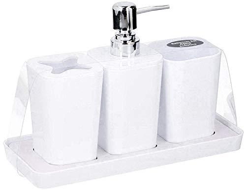 HomePlaceEU Juego de 4 accesorios de baño – dispensador de jabón para bomba, soporte para cepillo de dientes, vaso y bandeja para platos (blanco)