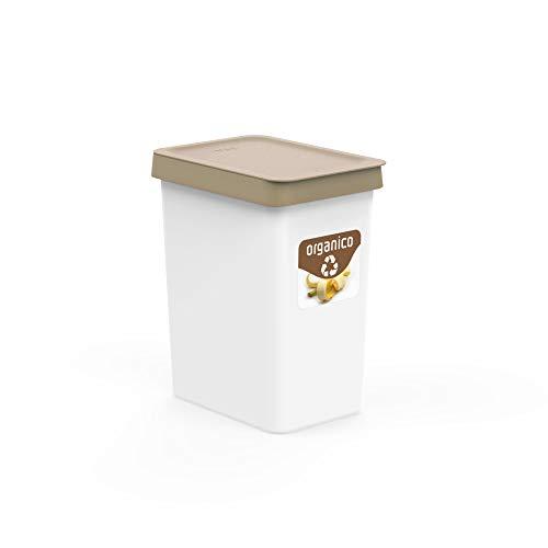 USE FAMILY Recycle. Papeleras Reciclaje 12L - 27x20x33 cm + Pegatinas Reciclaje | Para Bolsas 10 L | Cubos de basura ecologico Plástico Reciclable. (Orgánico)