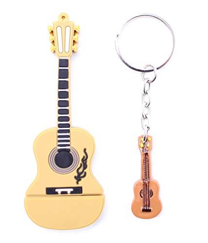Lynneo - Chiavetta USB per chitarra, 32 GB, con un portachiavi in omaggio, ideale come regalo fantasia, divertente e originale. Memory Stick Flash Drive strumento musicale