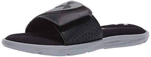 Under Armour Men's Ignite VI SL Slide Sandal, Black (002)/Steel, 11 M US