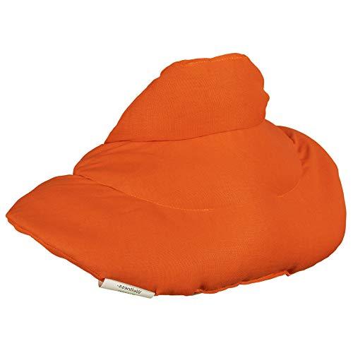 Cojín cervical de calor con cuello. naranja. Almohada térmica con huesos de cerezas. Cojín de nuca. Saco térmico de semillas