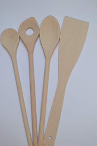 GECOS Goods 4-teiliges Holzkochlöffel- und Pfannenwender-Set, Küchenutensilien aus heimischem Hartholz, Buchenholz, FSC-Anbau, Verschiedene Größen: 28 und 30 cm lang, tolle Geschenkidee