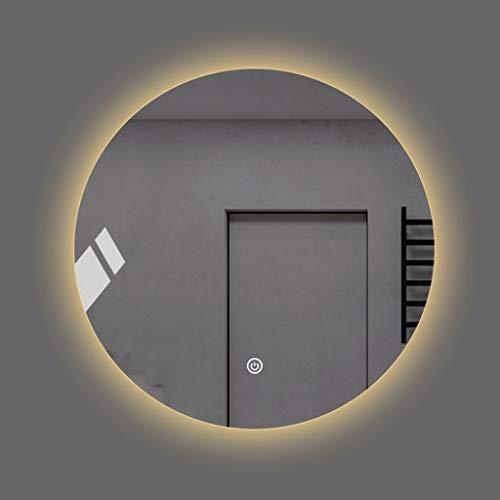 DCJLH Wandspiegel Badspiegel Anti-Fog-leuchtender LED-Wand-Spiegel Rund intelligentes Badezimmer Wand befestigter mit Licht runden Spiegel Badezimmerspiegel (Color : Warm Yellow Light, Size : 60cm)