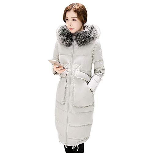 Waniii dames donsjack lange witte eendendons winter bontkraag slank over knieën dikke mantel