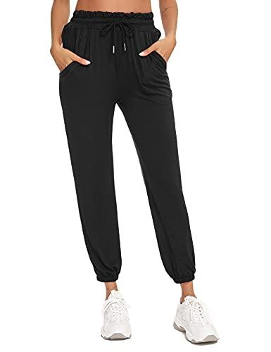Sykooria Pantaloni da Yoga Donna Pantaloni Tuta Donna Pantaloni Pilates 95% Cotone Modal alla Moda con Coulisse e Elastico Caviglia per Jogging e Fitness e Casa -neroM