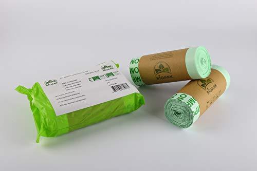 Bolsa de basura biodegradable 100 % BIOARK, 30 litros, 50 unidades, extragruesa, biodegradable y compostable, con certificado EN 13432 …