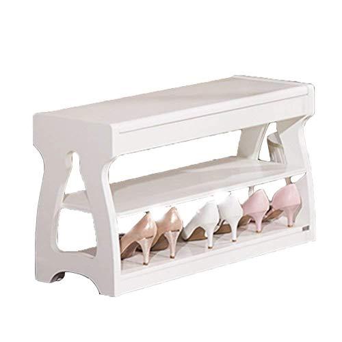 MMWYC zapatero de almacenamiento zapato de cuero sólido estante del zapato Caja del Banco de Almacenaje for versátil Fácil entrada de la puerta (color, Brown, tamaño, 80 * 30 * 45 cm), Blanco, 63 * 30