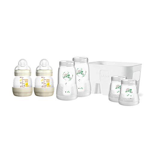 MAM Easy Start Anti-Colic Combi-Set, Babyflaschen-Set mit 6 Flaschen gegen Koliken (2 x 130 ml, 160 ml, 260 ml) & Flaschenkorb, Babyausstattung ab der Geburt, Naturmotiv, beige