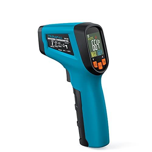 Thermomètre Infrarouge Tilswall Pistolet de Thermometre Sans Contact ,Laser -58~1112℉(-50~600℃)Emissivité Réglable Thermomètre Frontal pour cuisine/barbecue/congélateur/industrie (pas pour l'homme)