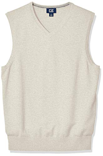 Cutter & Buck Men's Cotton-Rich Lakemont Anti-Pilling V-Neck Sweater Vest, Oatmeal Heather, Large