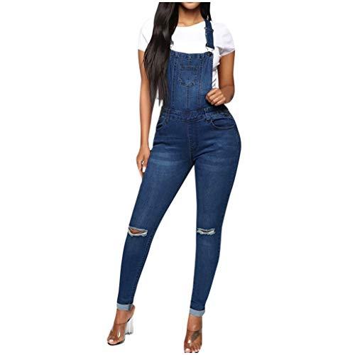 Hffan Damen Jeans Latzhose Skinny Latzjeans Overall Jeans-Latzhose mit Träger