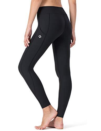 NAVISKIN Damen Trainingshose Active GYM Stretching Leggings mit Seitentaschen Knöchellange Schwarz Größe M