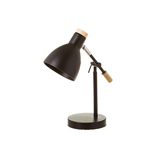 Lámpara de mesa para escritorio nórdica de metal y madera Negra de 36x15x32 cm